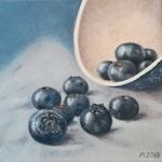 """""""Blaubeeren II"""" 2018 nach dem Foto von Priska Wettstein, Öl 20x20 (verkauft)"""