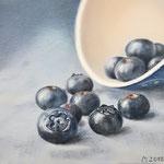 """""""Blaubeeren I"""" 2018 nach dem Foto von Priska Wettstein, Öl 20x20 (verkauft)"""