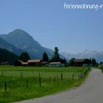 Blick auf Hinang und die Allgäuer Alpen
