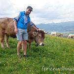 Florian mit unserer Wilma (Original Braunvieh)