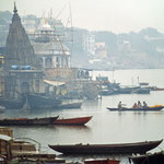 Ghats in Varanasi by Volker Abt