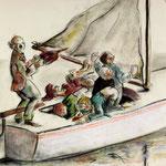 Mit dem Wind den man selber macht kann man die Segel nicht füllen - 50x65cm