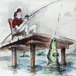 Klobein-Philipp der Angler - Buntstift - 21x30cm