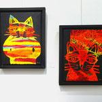 Night Cat Ⅰ  2015   41.0×31.5cm / Night Cat Ⅱ  2015   41.0×31.5cm    KATO