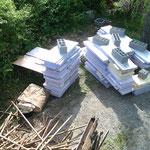 panneaux de styrodur posés par l'ancien propriètaire pour colmater grossièrement  les fuites...