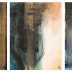 < Présences > acrylique, pigments sur canson 300grs encadrés 50x65cmx3