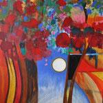 < Forêt rouge > acrylique sur toile 100x80cm