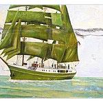 """Die alte """"Alexander von Humboldt"""" als Wandbild in der letzten Kneipe vor New York in Bremerhaven"""