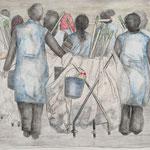 Zeichnung Kohle, Bunstift, Grafit: Dämmerung