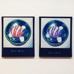 白玉クリームあんみつ PY , PY / 2014 F3号 cyanotype シルクスクリーン