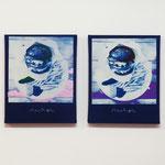 ハンバーガー GP , BP / 2014 F3号 cyanotype シルクスクリーン