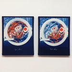 ラーメン OU , OD / 2014 F3号 cyanotype シルクスクリーン