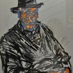 Fritz Oesterlein: Alter Mann  Ölkreide  50x70
