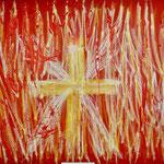 Hansi Oesterlein: Das Kreuz - 90x90 Acry
