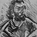 Fritz Oesterlein: Iranischer Künstler  Kohle 50x70