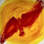 Hansi Oesterlein: Der rote Vogel - 90x90 Acryl