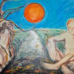 Hansi Oesterlein: Der letzte Mensch und Baum - 80x120 Acryl