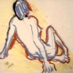 Fritz Oesterlein: Akt  Ölkreide  40x50