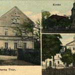 Eine Ansicht von Dorna um 1910. Auf der linken Seite ist das Wohn- und Geschäftshaus von Karl Friedrich Neitsch zu sehen. Davor steht die gemeinsame Belegschaft.