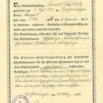 Die Gutsgärtnerei war Ausbildungsstätte von verschiedenen Lehrlingen. Dies ist das Lehrzeugnis von Konrad Wachholz, der bis 1928 dort lernte. Der Lehrmeister war Karl Friedrich Neinaß.