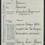 Vermisstenkarte des Internationalen Roten Kreuzes zu Hermann Draake