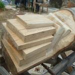 Ya los diferentes libros se distinguen perfectamente sobre la madera
