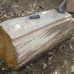 """Tras cortar el tronco al tamaño indicado, comienza la talla """"gruesa"""""""