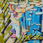 Overlap of paint   (Kamogawa)          727mm×500mm                   キャンバス、アクリル、ジェッソ