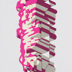 dimension Pictures (Pink brushstroke)    515mm×363mm   パネル,MDF,ジェッソ,アクリル
