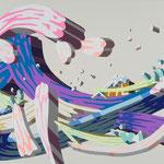 Overlap of paint     (Kanagawa oki namiura)          606mm×910mm          キャンバス、ジェッソ、アクリル