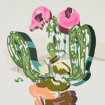 Overlap of paint (Cactus flower)          410mm×410mm               キャンバス、ジェッソ、アクリル