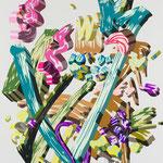 Overlap of paint (Flower garden)          1620mm×1303mm               キャンバス、ジェッソ、アクリル