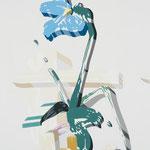Overlap of paint (Iris flower in vase)          727mm×500mm               キャンバス、ジェッソ、アクリル