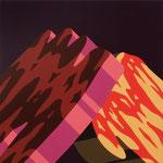 Overlap of paint   (Aka Fuji)   333mm×333mm          キャンバス、ジェッソ、アクリル