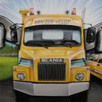 Scania truck, van der veldt bronbemaling