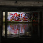 HerzOne graffiti, Lucky Luke, water reflection