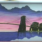 New York skyline, Twin Towers, Brooklyn Bridge