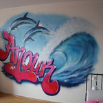 Kinderkamer, kidsroom, wave, surf, graffiti