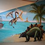 Kinderkamer, kidsroom, piratenschip, dinosaurus, dino
