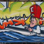 Kinderkamer, kidsroom, zeilboot, graffiti
