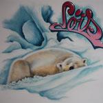 Kinderkamer, kidsroom, ijsbeer. polarbear, graffiti