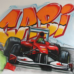 Kinderkamer, kidsroom, F1, raceauto, race-car, graffiti