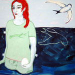 """Ulla Nentwig 2012 """"nicht umdrehen """" Acryl auf LW,130x150cm"""