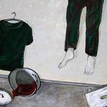 """Ulla Nentwig 2012 """"Die Fußbank meiner Mutter """" Acryl auf LW,130x150cm"""