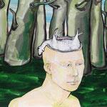 """Ulla Nentwig 2014 """" Opfer"""" Acryl auf LW, 50x50cm"""