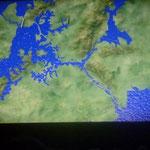 Vue du lac artificiel (photo d'une projection)