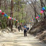 Balade en famille dans un parc pour l'accès à un temple