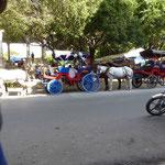 les caleches attendent les touristes a Granada