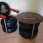 Verkäuflich! Sessel und Tisch aus alten Motorrad- und Autoreifen.  Mai bis Juli 2016