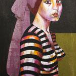 R5 -La jeune fille sans perle- 130X81 - Pigment Liant Acrylique